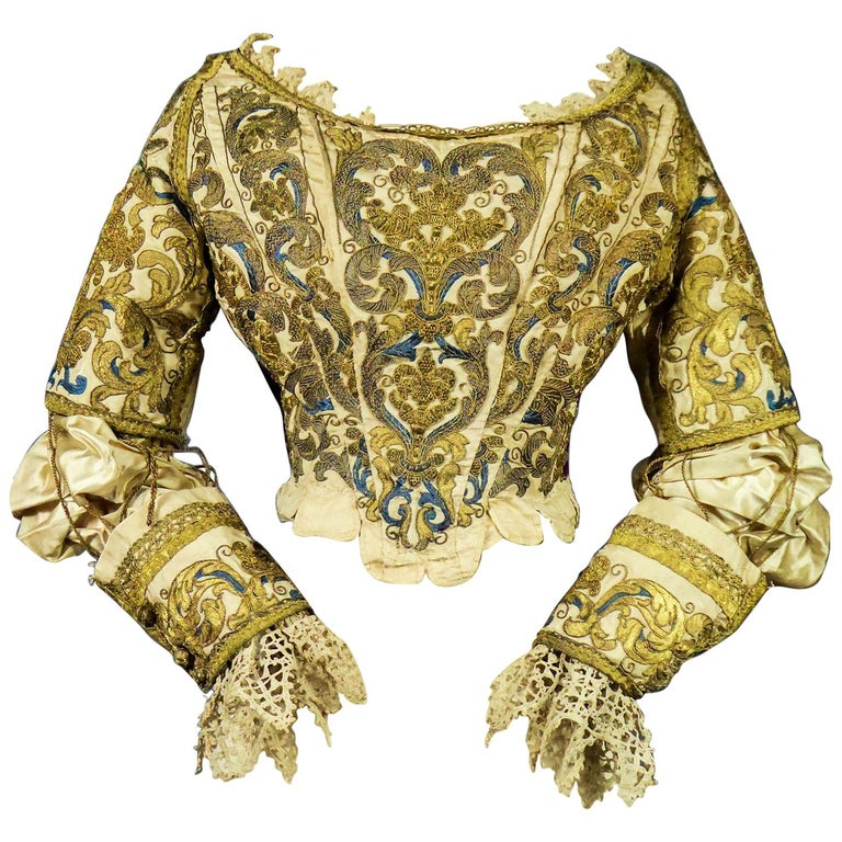 17th Century Golden Embroidered Baroque European Bodice Modified 19th Century For Sale