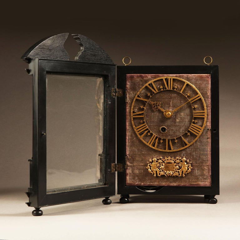 Unusually small Hague clock made c. 1675 by Pieter Visbagh, who was apprenticed by Salomon Coster. The latter made the first pendulum clock according to the instructions of Christiaan Huygens, the internationally renowned scientist who developed the