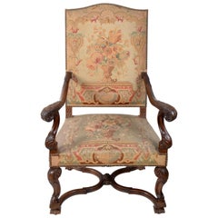 17th Century Hand Carved Walnut Wood Armchair Needlepoint Upholstery Cross Base