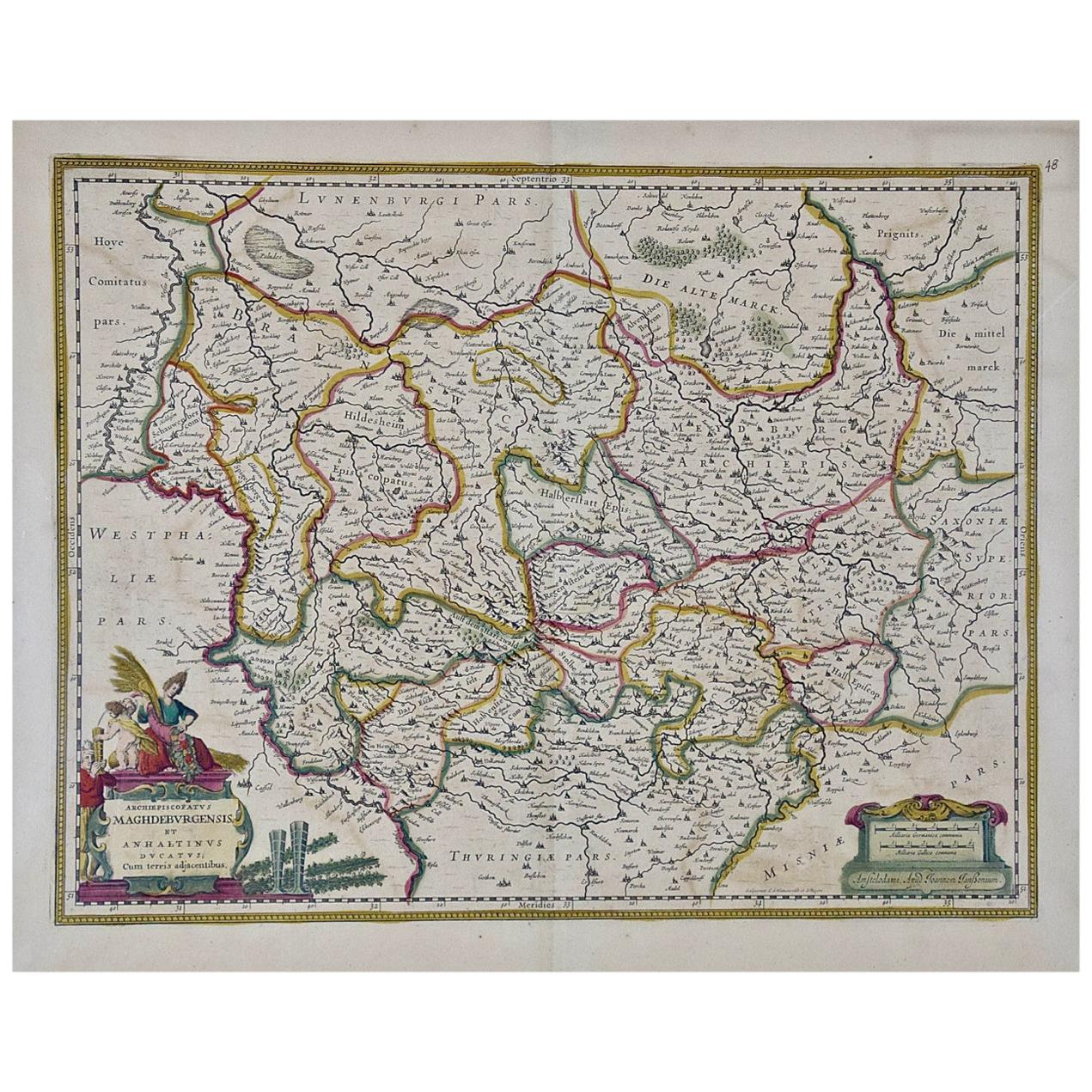 17th Century Hand-Colored Map of a Region in West Germany by Janssonius