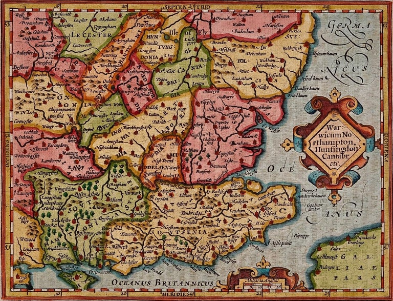 A 17th century copperplate hand-colored map entitled