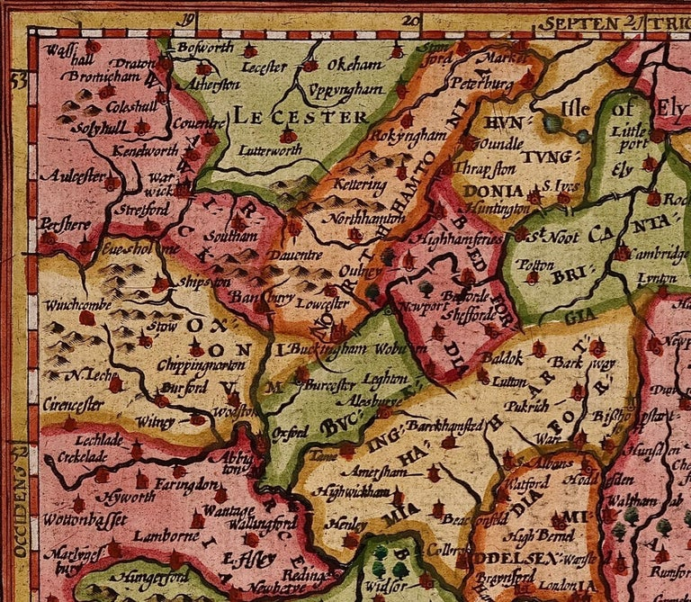 Dutch 17th Century Hand-Colored Map of Southeastern England by Mercator and Hondius For Sale