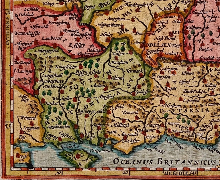 Engraved 17th Century Hand-Colored Map of Southeastern England by Mercator and Hondius For Sale