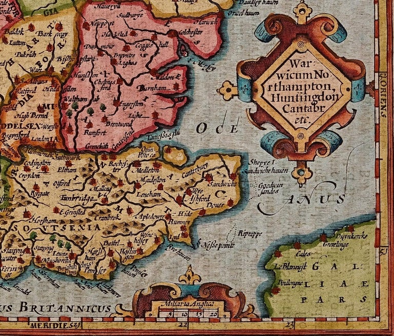 17th Century Hand-Colored Map of Southeastern England by Mercator and Hondius In Good Condition For Sale In Alamo, CA
