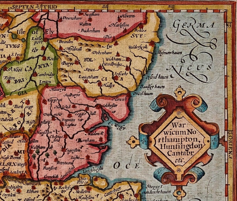 Paper 17th Century Hand-Colored Map of Southeastern England by Mercator and Hondius For Sale
