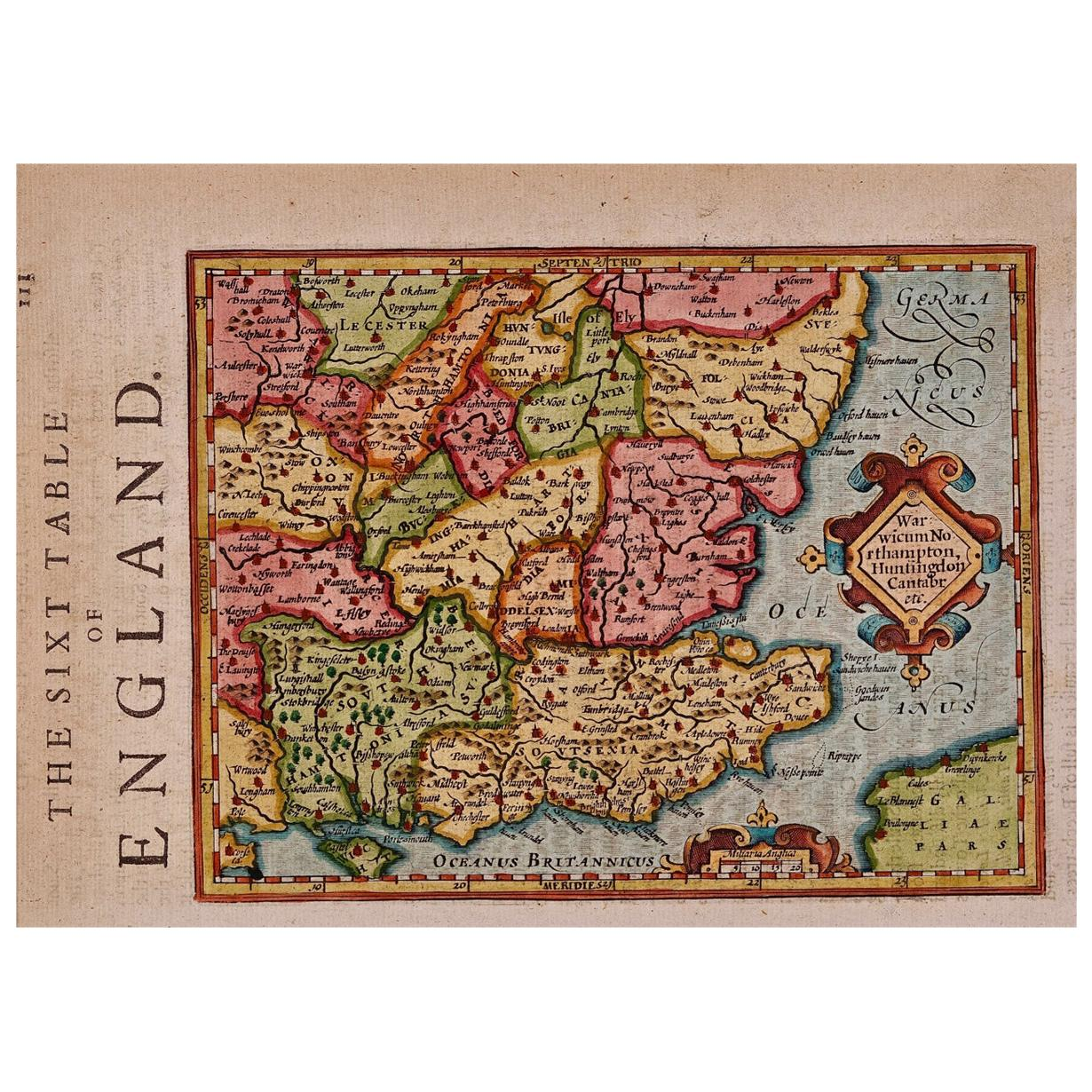 17th Century Hand-Colored Map of Southeastern England by Mercator and Hondius