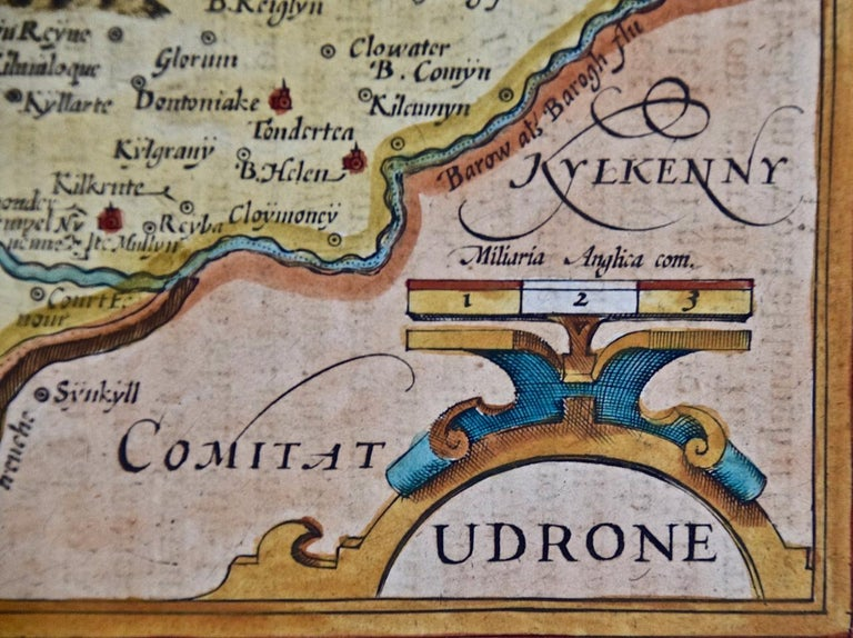 Dutch 17th Century Hand Colored Map of Southeastern Ireland by Mercator and Hondius For Sale