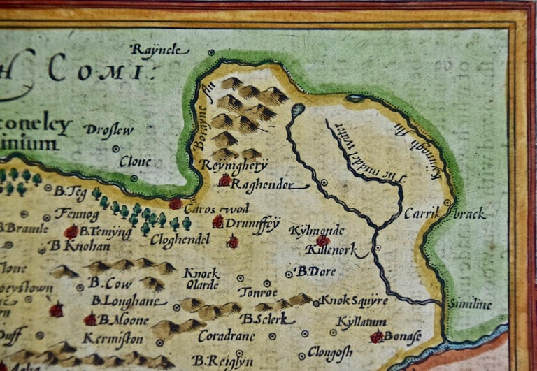 Paper 17th Century Hand Colored Map of Southeastern Ireland by Mercator and Hondius For Sale
