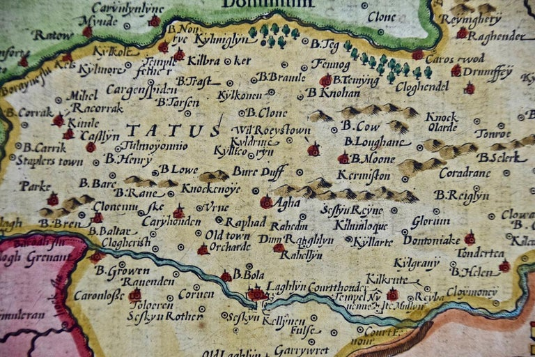 17th Century Hand Colored Map of Southeastern Ireland by Mercator and Hondius For Sale 1
