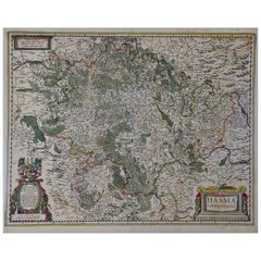17th Century Hand-Colored Map of the Hesse-Kassel Region of Germany by Hondius