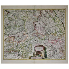 17th Century Hand Colored Map of the Liege Region in Belgium by Visscher