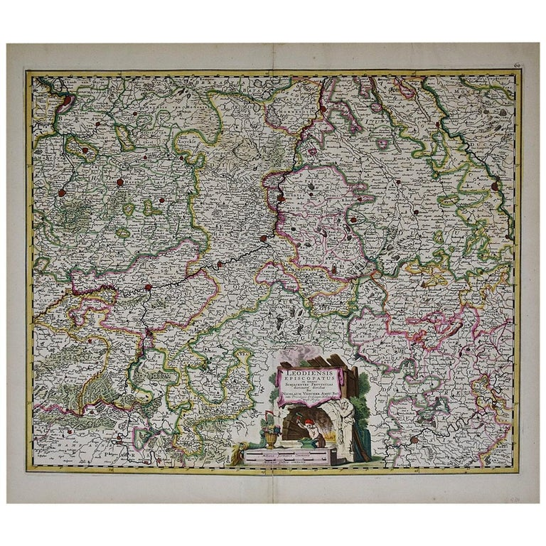 17th Century Hand Colored Map of the Liege Region in Belgium by Visscher For Sale