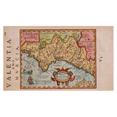 17th Century Hand-Colored Map of Valencia and Murcia, Spain by Mercator/Hondius