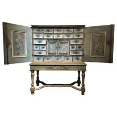 17th Century Hand Painted Blue Swiss Baroque Multi-Drawer Cabinet