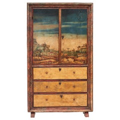 17th Century Hand Painted Catalan Cabinet