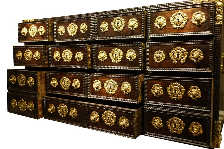 Fruitwood 17th Century Indo-Portuguese Cabinet For Sale