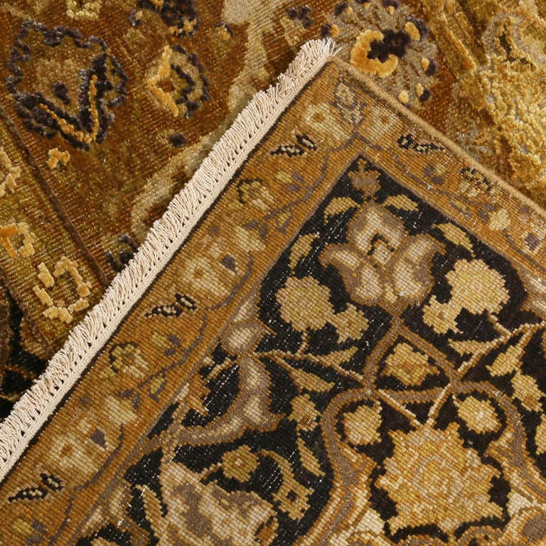 17th Century Inspired Black And Gold Wool And Silk Rug