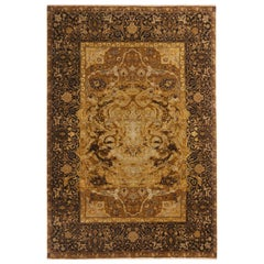 17th Century, Inspired Black and Gold Wool and Silk Rug