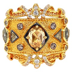 17th Century Inspired Fancy Color and White Diamond Ring in 18 Karat Gold