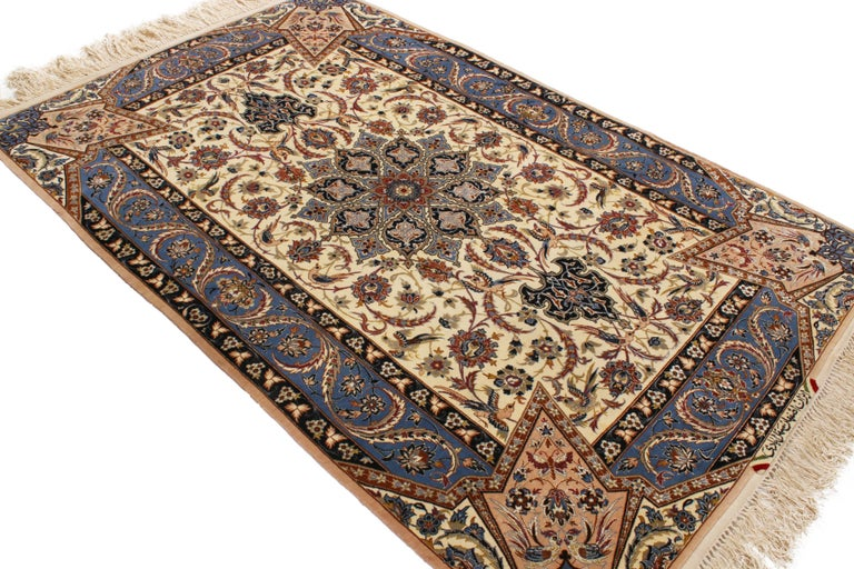 Hand-Knotted 17th Century Inspired Vintage Isfahan Beige and Blue Wool and Silk Persian Rug For Sale