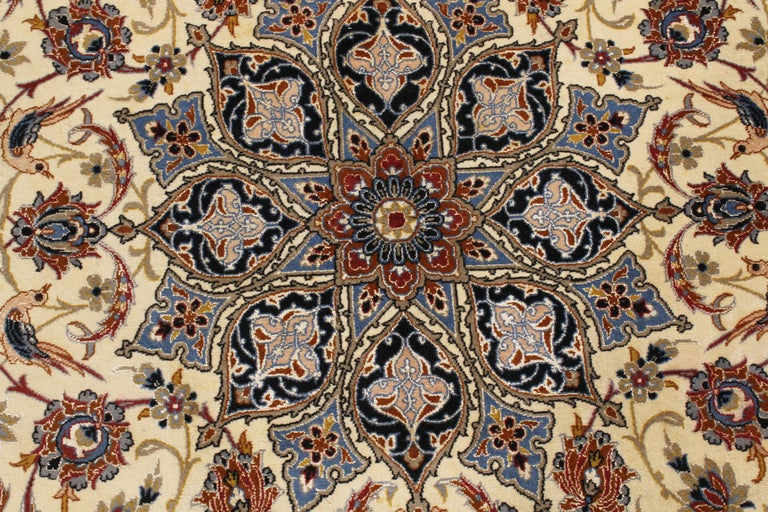 17th Century Inspired Vintage Isfahan Beige and Blue Wool and Silk Persian Rug In Good Condition For Sale In New York, NY