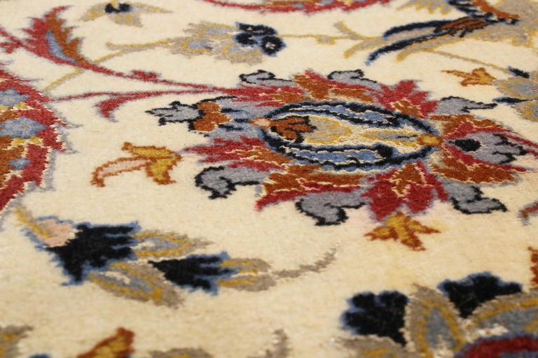 Late 20th Century 17th Century Inspired Vintage Isfahan Beige and Blue Wool and Silk Persian Rug For Sale