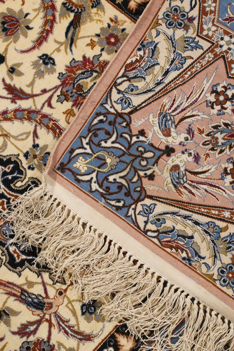 17th Century Inspired Vintage Isfahan Beige and Blue Wool and Silk Persian Rug For Sale 1