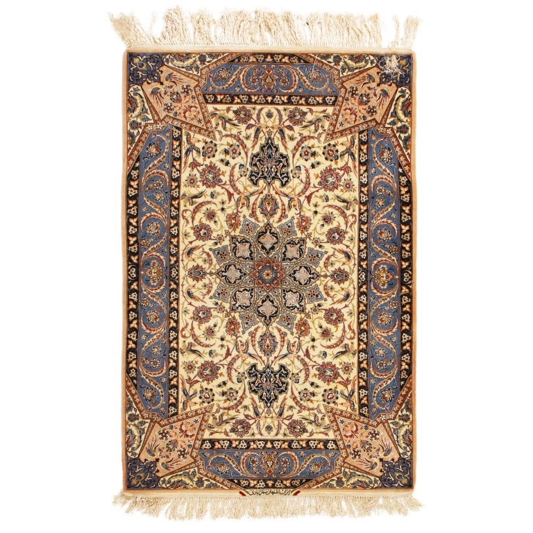 17th Century Inspired Vintage Isfahan Beige and Blue Wool and Silk Persian Rug For Sale 2