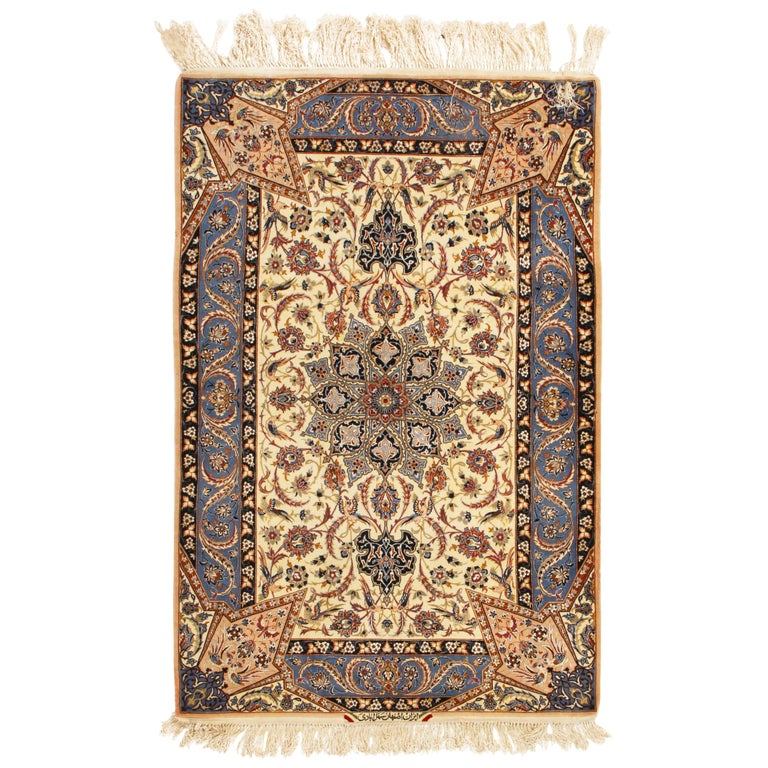 17th Century Inspired Vintage Isfahan Beige and Blue Wool and Silk Persian Rug For Sale