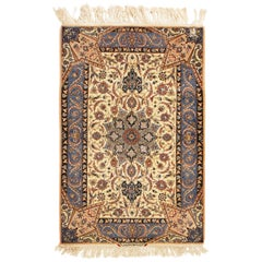 17th Century Inspired Vintage Isfahan Beige and Blue Wool and Silk Persian Rug