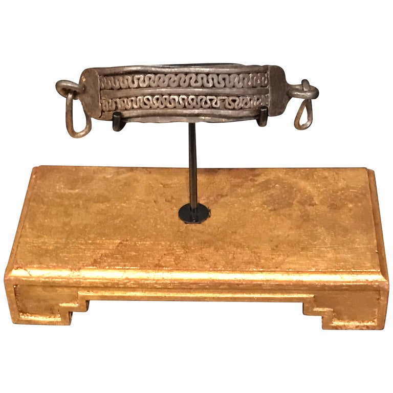 17th Century Iron Dog Collar, Museum Mounted For Sale