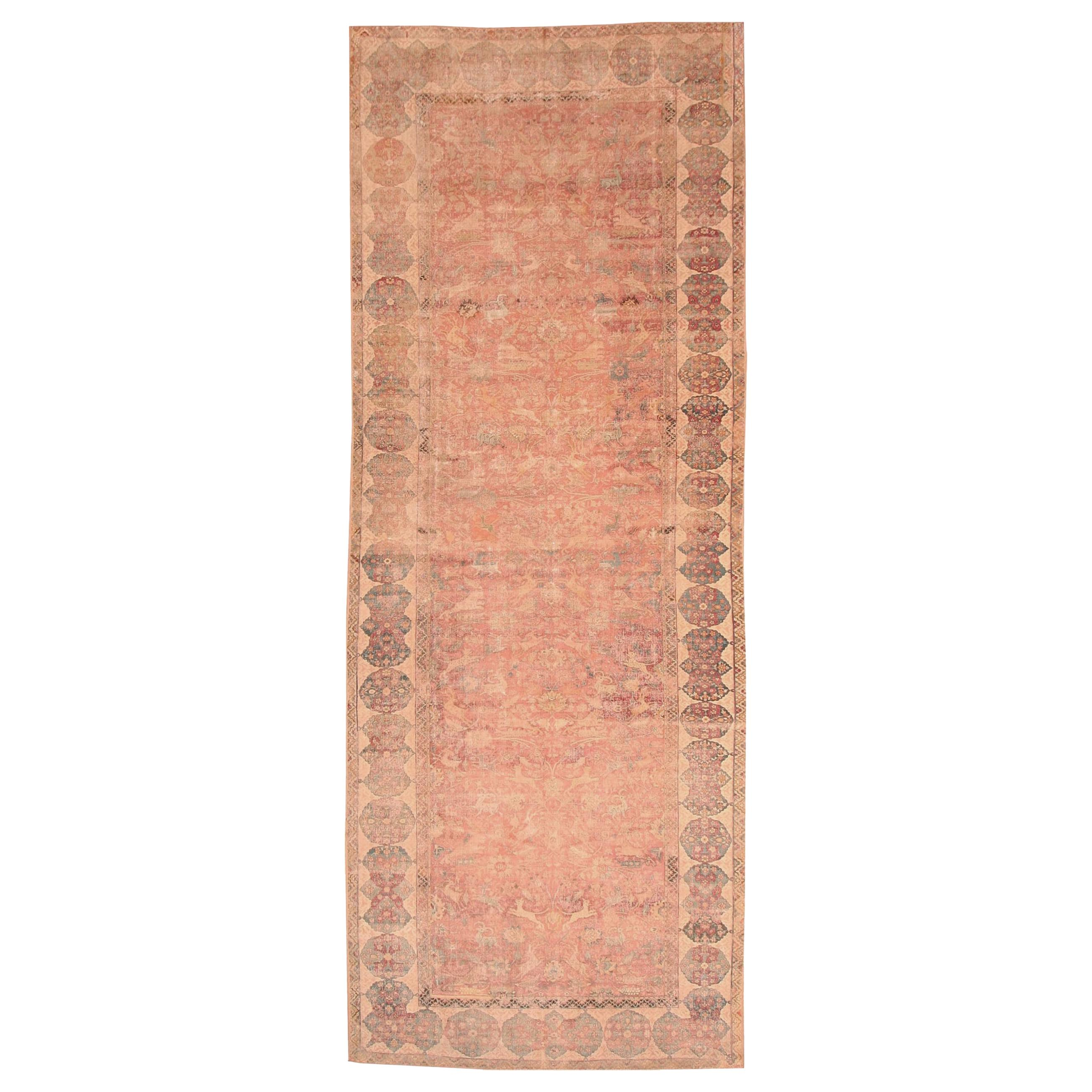 17th Century Isfahan Persian Rug. Size: 7 ft 7 in x 20 ft 4 in (2.31 m x 6.2 m)