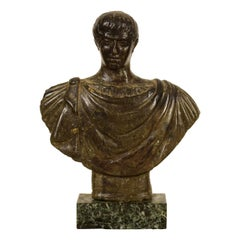 17th Century, Italian Ancient Carved Stone Bust of Roman Emperor