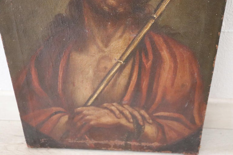 Oiled 17th Century Italian Artist Jesus with the Crown of Thorns For Sale