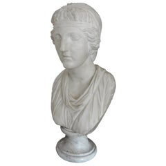 17th Century Italian Carrara Marble Bust of a Classical Roman