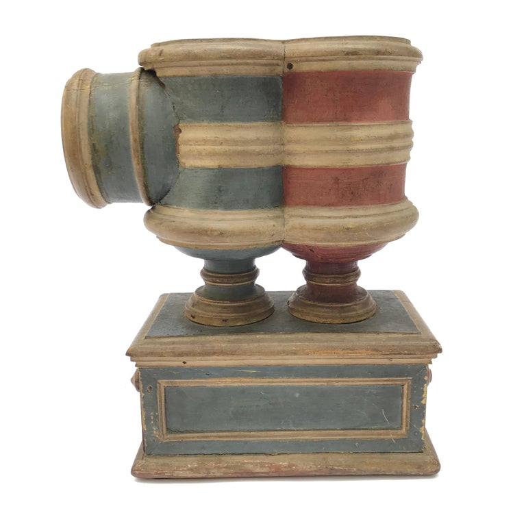 17th Century Italian Carved Blue Red Painted Ballot Voting Urn Yes or No For Sale 4