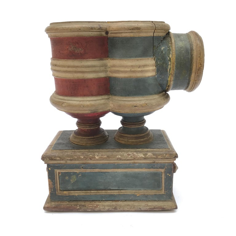 17th Century Italian Carved Blue Red Painted Ballot Voting Urn Yes or No For Sale 9