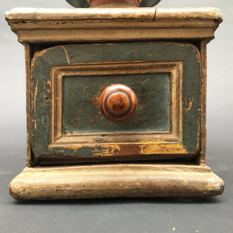 17th Century Italian Carved Blue Red Painted Ballot Voting Urn Yes or No In Good Condition For Sale In Milan, IT