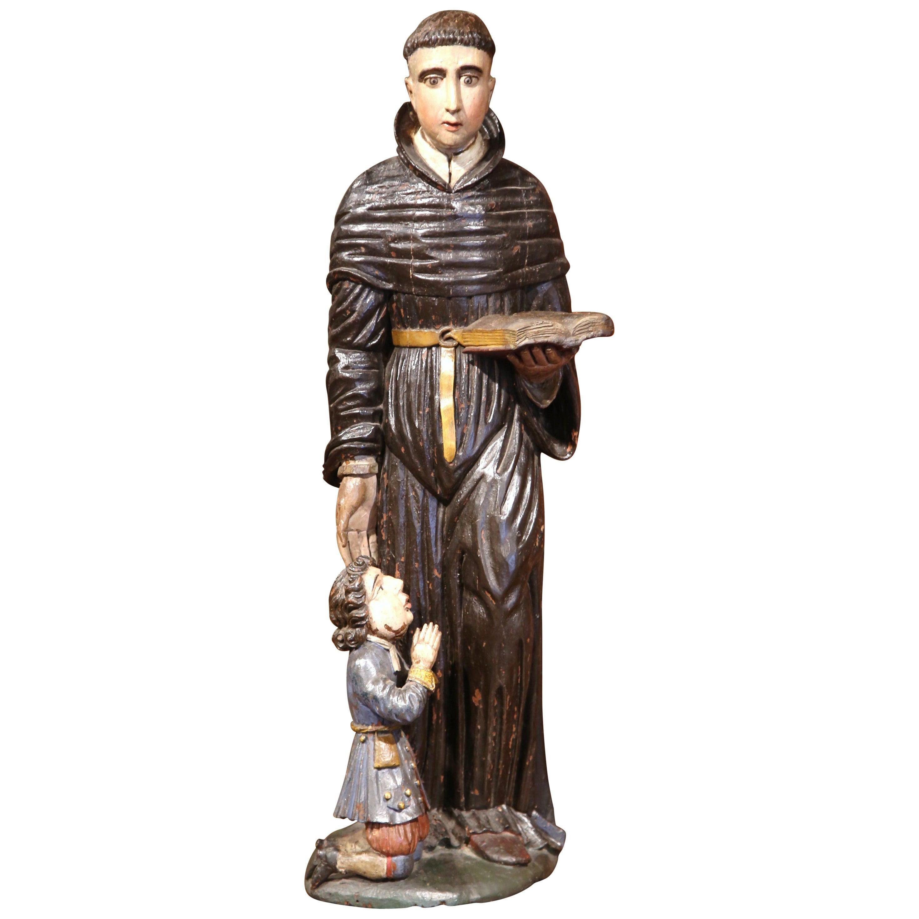 17th Century Italian Carved Painted Saint Nicholas Sculpture Composition