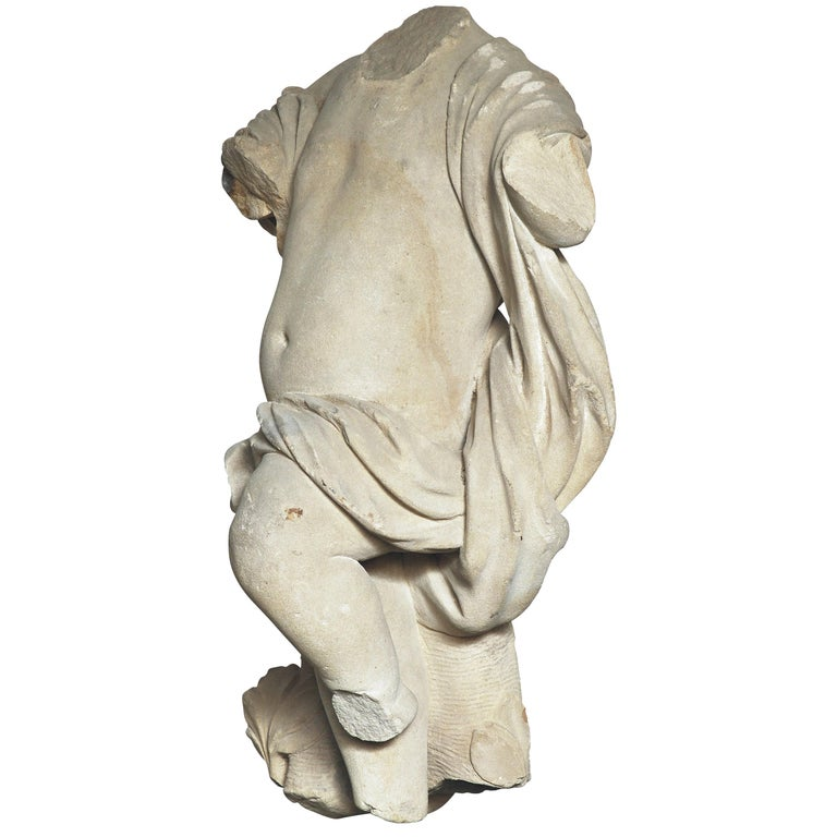 A 17th Century Italian Carved Sandstone Torso of an Infant in Motion For Sale