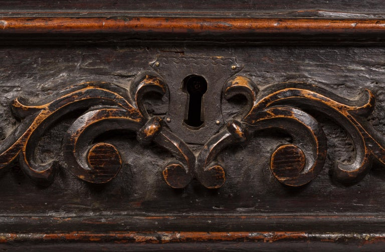 Wrought Iron 17th Century Italian Cassone Wedding Chest For Sale