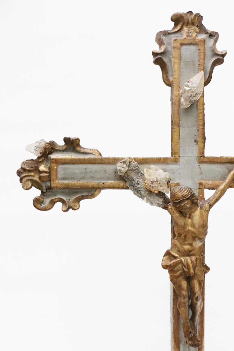 17th century Italian crucifix from Liguria, Italy. It is decorated with calcite crystals in matrix from Elmwood mine which produces some of the world's finest crystallized examples of calcite, fluorite, and sphalerite. Featured in the American