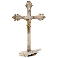 17th Century Italian Crucifix Decorated with Calcite Crystals in Matrix