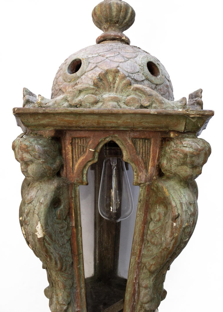 Wood 17th Century Italian Electrified Venetian Lantern For Sale