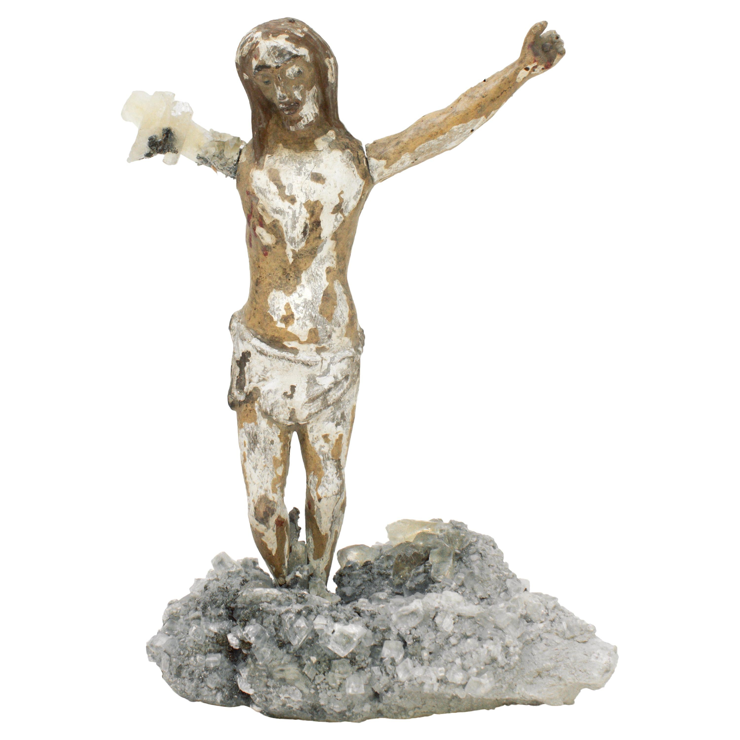 17th Century Italian Figure of Christ with Calcite Crystals on Barite & Calcite