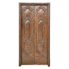 17th Century Italian Louis XIV Baroque Carved Oak Wood Antique Double Door