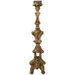 17th Century Italian Louis XIV Carved and Gilded Wood Candelabra