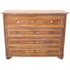 17th Century Italian Louis XIV Inlaid Walnut Commode or Chest of Drawer