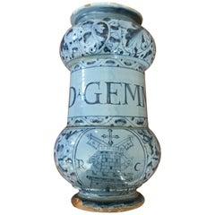 17th Century Italian Maiolica Albarello Drug Jar