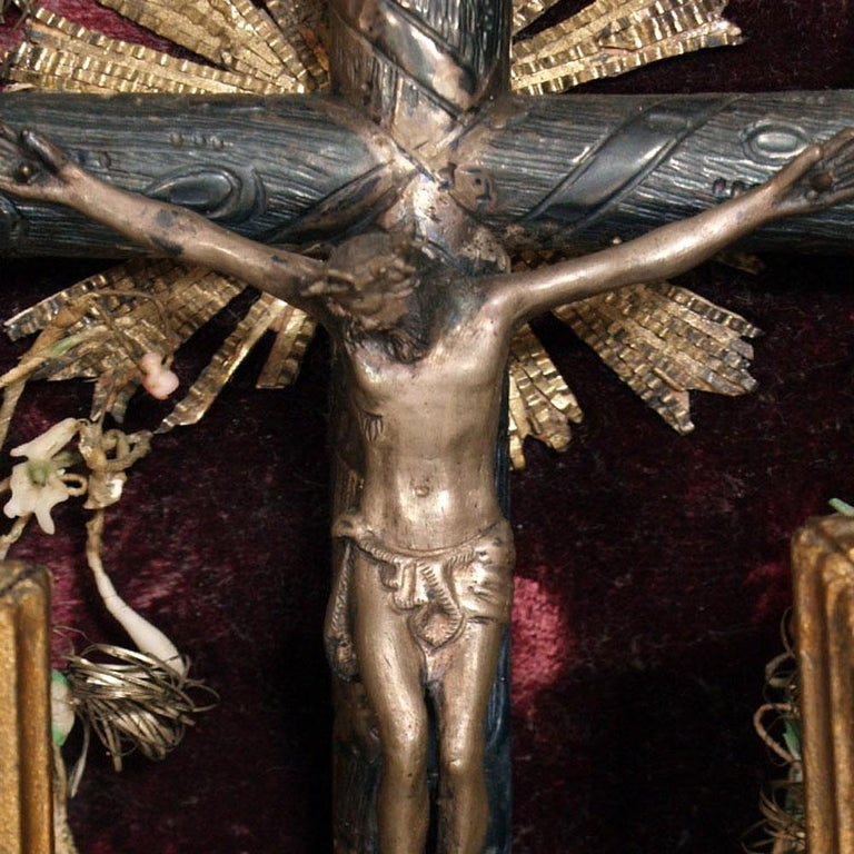 Renaissance 17th Century Italian Massive Silver Crucifix with Golden Wood Frame, circa 1900s For Sale